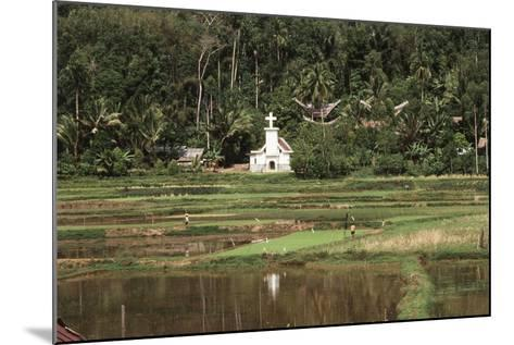 Asia, Indonesia, Sulawesi, View of Church and Field-Tony Berg-Mounted Photographic Print