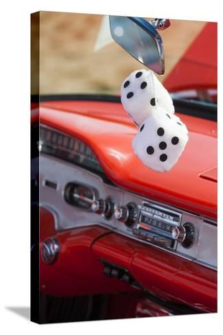 Massachusetts, Gloucester, Antique Car Show, Fuzzy Dice-Walter Bibikow-Stretched Canvas Print