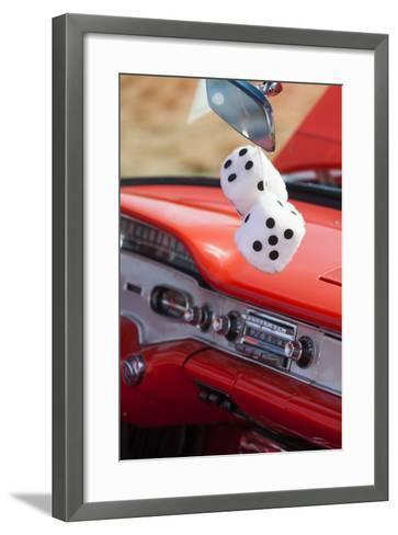 Massachusetts, Gloucester, Antique Car Show, Fuzzy Dice-Walter Bibikow-Framed Art Print