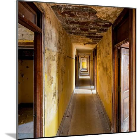Hallway of an Abandoned Building in Butte, Montana-James White-Mounted Photographic Print