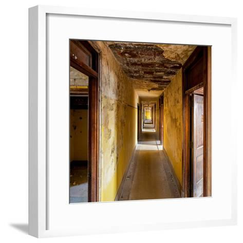 Hallway of an Abandoned Building in Butte, Montana-James White-Framed Art Print