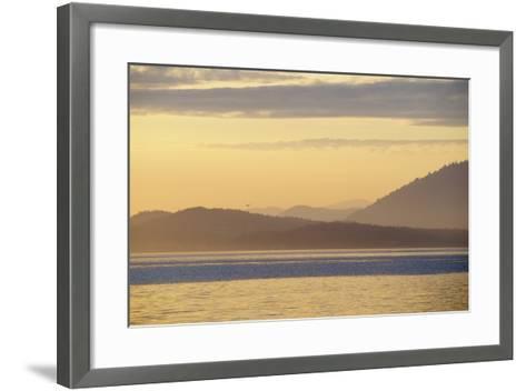 Canada, B.C, Sidney Island. Layered Yellow Islands with Bird Flying-Kevin Oke-Framed Art Print