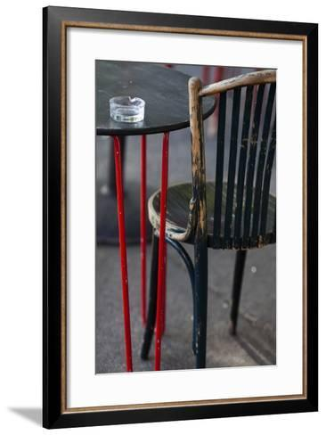 Australia, Victoria, Melbourne, Fitzroy, Gertrude Street, Cafe Table-Walter Bibikow-Framed Art Print