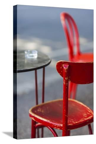 Australia, Victoria, Melbourne, Fitzroy, Gertrude Street, Cafe Table-Walter Bibikow-Stretched Canvas Print