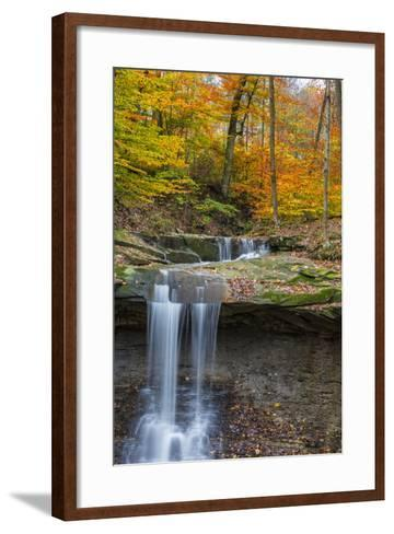 Blue Hens Falls in Autumn in Cuyahoga National Park, Ohio, USA-Chuck Haney-Framed Art Print