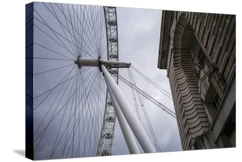 England, London, London Eye, Morning-Walter Bibikow-Stretched Canvas Print