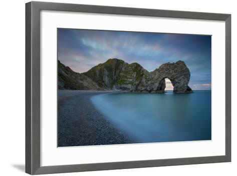 Dawn over Durdle Door Along the Jurassic Coast, Dorset, England-Brian Jannsen-Framed Art Print