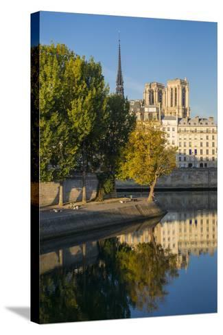 River Seine with Cathedral Notre Dame Beyond, Paris, France-Brian Jannsen-Stretched Canvas Print