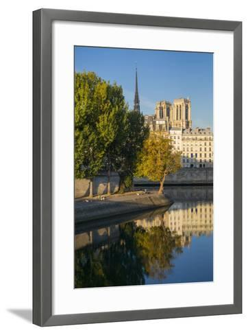 River Seine with Cathedral Notre Dame Beyond, Paris, France-Brian Jannsen-Framed Art Print