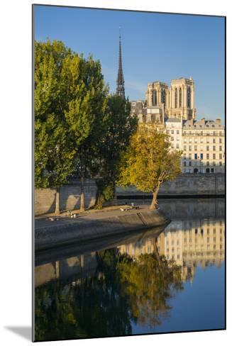 River Seine with Cathedral Notre Dame Beyond, Paris, France-Brian Jannsen-Mounted Photographic Print
