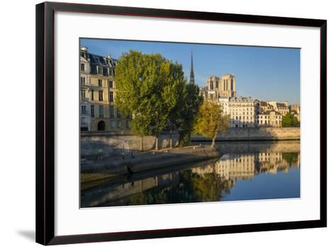 River Seine with Cathedral Notre Dame Beyond, Paris, France-Brian Jannsen-Framed Art Print