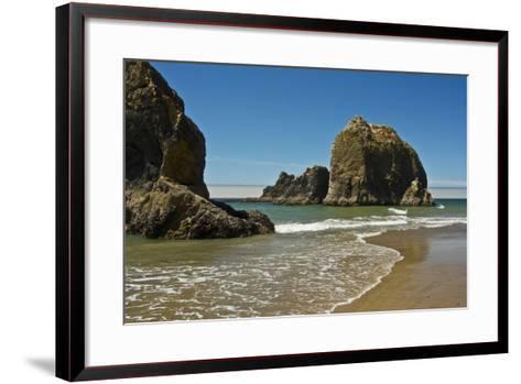 Sea Stacks, Low Tide, Oceanside, Oregon, USA-Michel Hersen-Framed Art Print