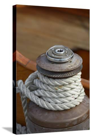 Washington State, Port Townsend. Barient Winch on an Old Wood Sailboat-Kevin Oke-Stretched Canvas Print