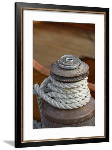 Washington State, Port Townsend. Barient Winch on an Old Wood Sailboat-Kevin Oke-Framed Art Print