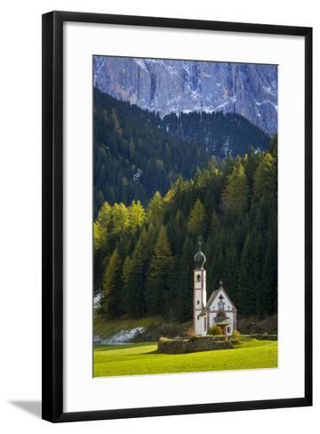 Saint Johann Church Below the Geisler Spitzen, Val Di Funes, Italy-Brian Jannsen-Framed Art Print