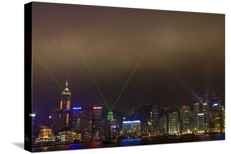 China, Hong Kong, Night Laser Show on Hong Kong Waterfront-Terry Eggers-Stretched Canvas Print