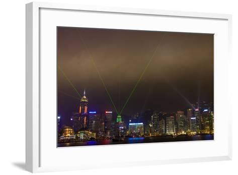 China, Hong Kong, Night Laser Show on Hong Kong Waterfront-Terry Eggers-Framed Art Print