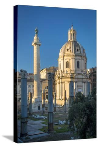 Trajans Column and Ruins of Trajans Forum, Rome Lazio Italy-Brian Jannsen-Stretched Canvas Print