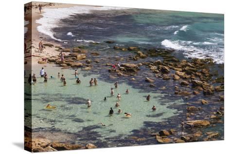 Australia, Sydney, Bronte, Bronte Beach, Elevated View-Walter Bibikow-Stretched Canvas Print