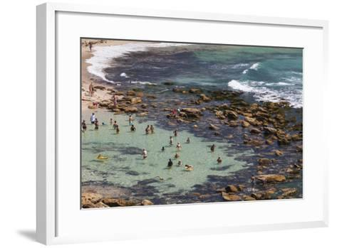 Australia, Sydney, Bronte, Bronte Beach, Elevated View-Walter Bibikow-Framed Art Print