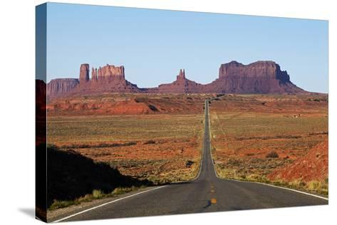 Utah, Navajo Nation, U.S. Route 163 Heading Towards Monument Valley-David Wall-Stretched Canvas Print