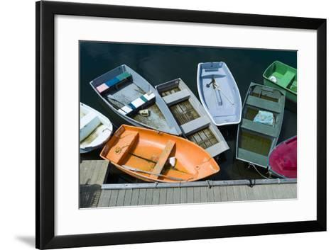 Massachusetts, Cape Ann, Rockport Harbor, Boats, Elevated View-Walter Bibikow-Framed Art Print