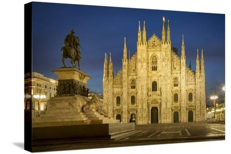 Vittorio Emanuele Statue and Cathedra, Milan, Lombardy, Italy-Brian Jannsen-Stretched Canvas Print