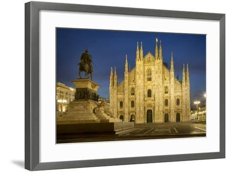Vittorio Emanuele Statue and Cathedra, Milan, Lombardy, Italy-Brian Jannsen-Framed Art Print