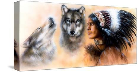 Animals Wolf and Portrait of American Indian in National Dress- JozefArt-Stretched Canvas Print