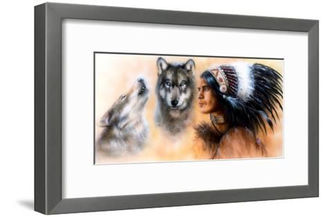 Animals Wolf and Portrait of American Indian in National Dress- JozefArt-Framed Art Print