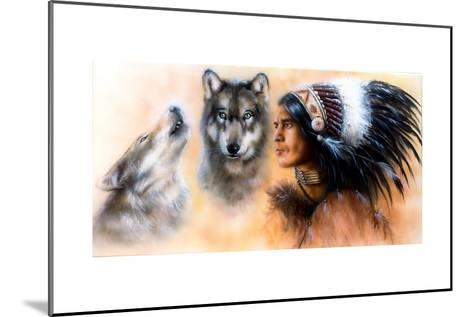 Animals Wolf and Portrait of American Indian in National Dress- JozefArt-Mounted Art Print