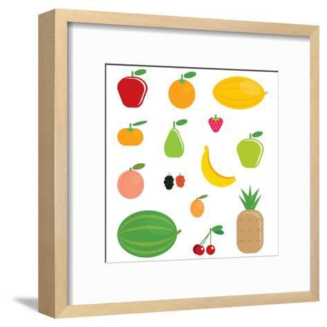 Simple Cartoon Shinny Fruits Collection-Thodoris Tibilis-Framed Art Print