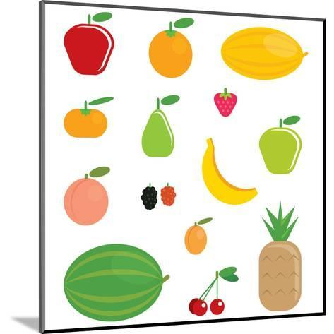 Simple Cartoon Shinny Fruits Collection-Thodoris Tibilis-Mounted Art Print