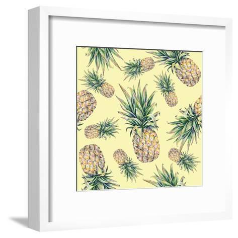 Pineapple on a Yellow Background. Seamless Pattern-MargaritaSh-Framed Art Print