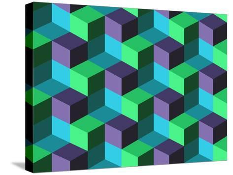 Seamless Background with Cubes- emuemu-Stretched Canvas Print