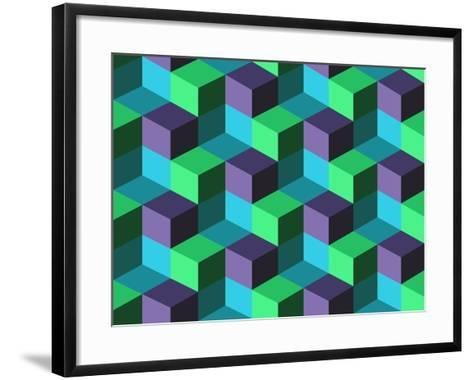 Seamless Background with Cubes- emuemu-Framed Art Print