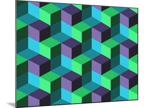 Seamless Background with Cubes- emuemu-Mounted Art Print