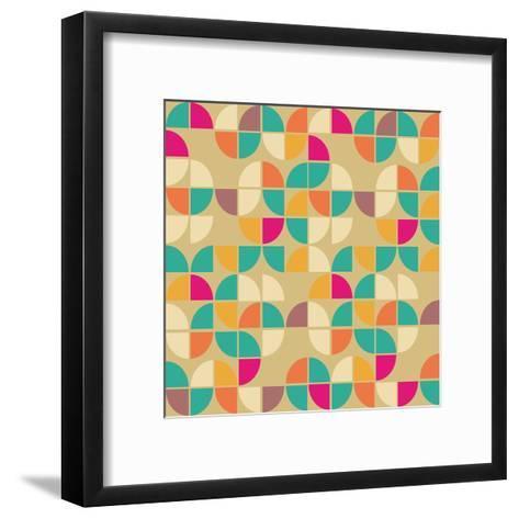 Seamless Pattern in Retro Style. Disco Vintage Background.-Tatsiana Tsyhanova-Framed Art Print