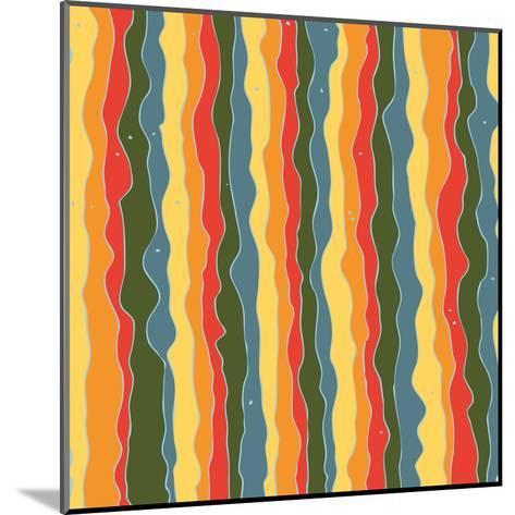 Beautiful Wavy Lines with Dots Pattern-molokot-Mounted Art Print