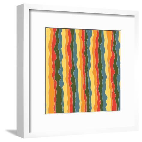 Beautiful Wavy Lines with Dots Pattern-molokot-Framed Art Print