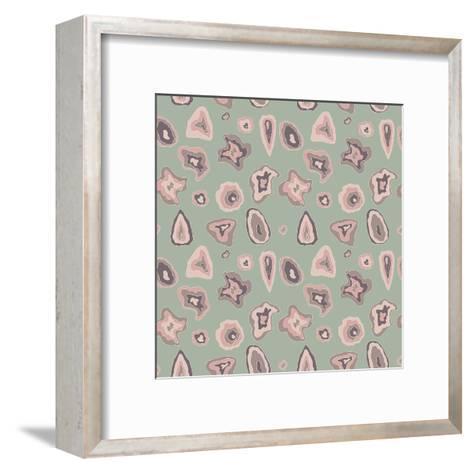 Beautiful Wavy Lines with Dots Pattern Texture-molokot-Framed Art Print