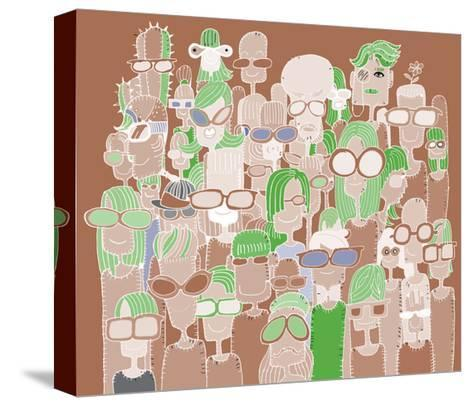 Hipster Hand Drawn Doodle Crowd of Happy People in Sunglasses-pakpong pongatichat-Stretched Canvas Print