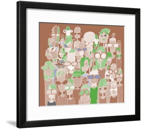 Hipster Hand Drawn Doodle Crowd of Happy People in Sunglasses-pakpong pongatichat-Framed Art Print