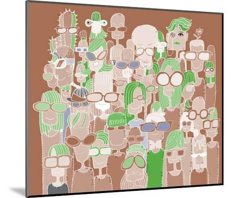 Hipster Hand Drawn Doodle Crowd of Happy People in Sunglasses-pakpong pongatichat-Mounted Art Print