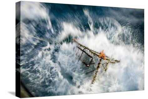 A Baited Pot Crashes into the Water from Aboard the F - V Centurion in Kachemak Bay, Alaska-Design Pics Inc-Stretched Canvas Print