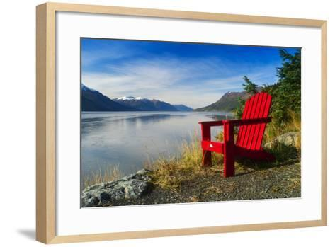 Red Adirondack Chair, Turnagain Arm, Southcentral Alaska-Design Pics Inc-Framed Art Print