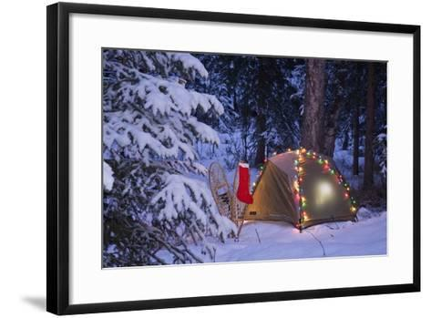 A Tent Is Set Up in the Woods with Christmas Lights and Stocking Near Anchorage, Alaska-Design Pics Inc-Framed Art Print