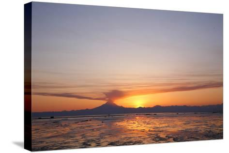 Ash Cloud Rises from From Mt. Redoubt at Sunset During Low Tide Near Ninilchik, Alaska-Design Pics Inc-Stretched Canvas Print