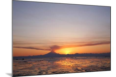 Ash Cloud Rises from From Mt. Redoubt at Sunset During Low Tide Near Ninilchik, Alaska-Design Pics Inc-Mounted Photographic Print