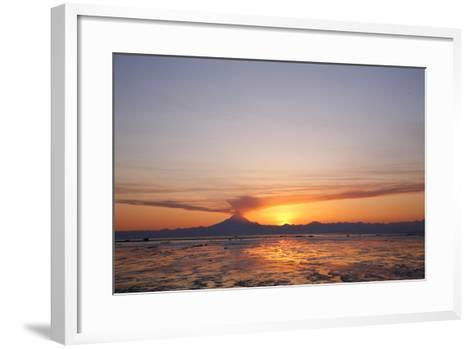 Ash Cloud Rises from From Mt. Redoubt at Sunset During Low Tide Near Ninilchik, Alaska-Design Pics Inc-Framed Art Print